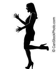 stylish silhouette woman happy welcoming