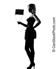 stylish silhouette woman sexy with purse