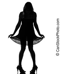 stylish silhouette woman showing her legs