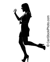 stylish silhouette woman surprised welcoming
