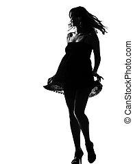 stylish silhouette woman walking dancing