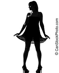 stylish silhouette woman with summer dress