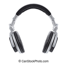 A front view of a stylish pair of silver headphones floating in the air isolated on white.