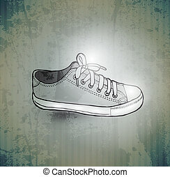 Stylish Sneakers. On grunge background