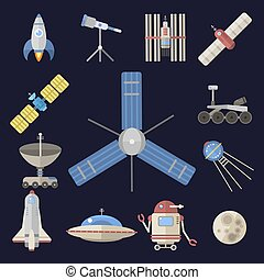 Stylish space ship constellation astrology radar cosmos universe technology meteor science shuttle astronaut rocket satellite vector.