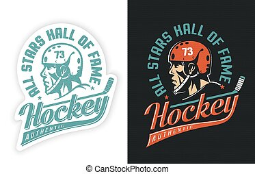 Stylish sports retro logo with hockey player