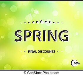 Stylish spring horizontal poster. Final sale green bright backgr