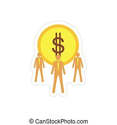 stylish sticker on paper coin and businessmen