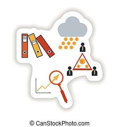 stylish sticker on paper group of economic icons