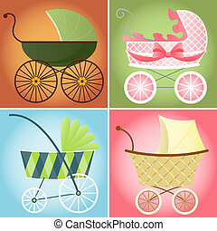 Four different baby stroller styles for baby boys and girls