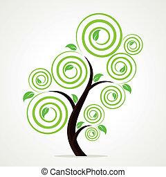 stylish swirl green tree