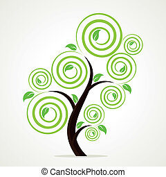 stylish swirl green tree