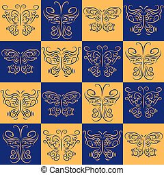 Stylish symmetrical seamless pattern with different butterflies