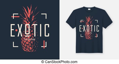 Stylish t-shirt and apparel modern design with pineapple, typogr