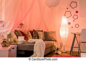 Stylish teenage girl's bedroom - Stylish lighted teenage...