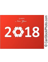 Stylish text design 2018 with snowflake for Happy New Year celebration. Red background paper Vector Illustration
