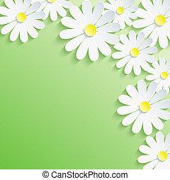 Stylish trendy background, white 3d flower chamomile