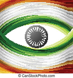 Stylish tricolor indian flag wave colorful design vector