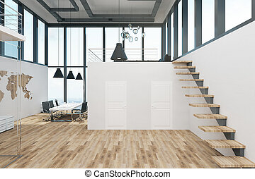Stylish two story office interior