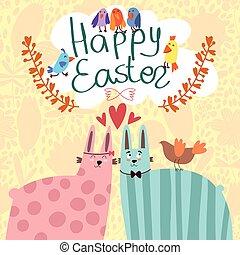 Stylish vector card with cute rabbit.