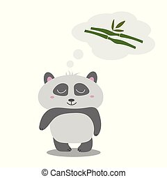 Little cute panda thinks of eucalyptus. The idea for greeting card