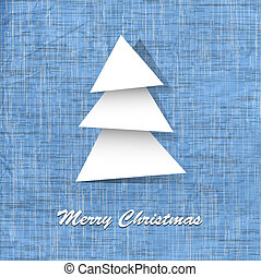 Stylish vector postcard with paper christmas tree