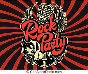 Stylish vector template for printing on the theme of rock music with a calligraphic inscription