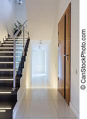 Stylish villa corridor with modern design
