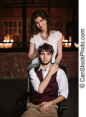 Stylish wedding couple, groom and bride together