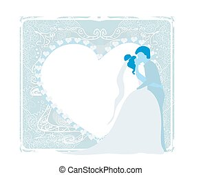 stylish wedding invitation card with kissing couple