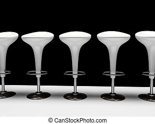 Stylish white cafeteria chair isolated on black background