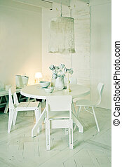 stylish white dinner table