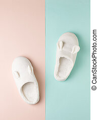 Stylish white house slippers on a two-tone background. Top view. Flat lay.