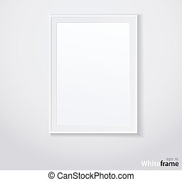 Stylish white photoframe. Vector illustration