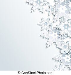 Stylish winter background, abstract 3d snowflake