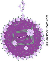 Stylish with lilac flowers label. Spring sale