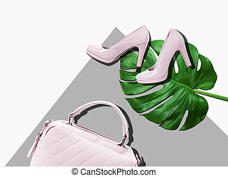 Stylish woman accessories, handbag clutch, glamor pink shoes on colorful background. Summer clothing accessories.