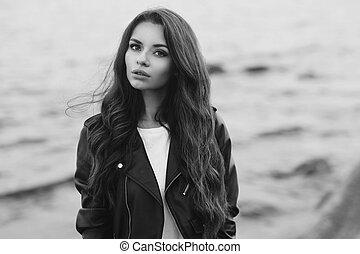 Stylish woman at beach