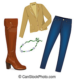 Stylish woman clothes - Realistic modern jacket, jeans, high...