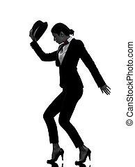 stylish woman dancer dancing silhouette