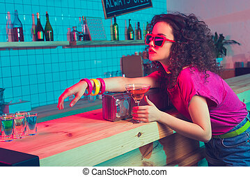 stylish woman in bar