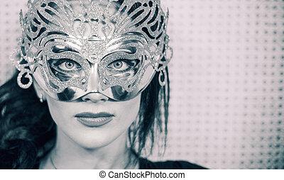 stylish woman in mask