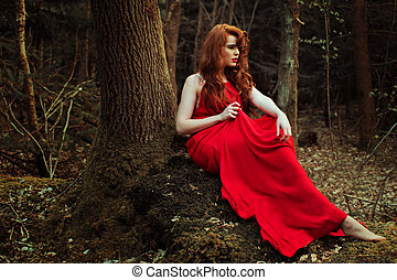 stylish Woman in red Dress