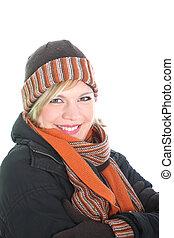 Stylish woman in winter ensemble