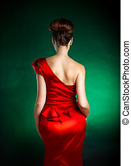 Stylish woman - Picture of woman's back with stylish red...