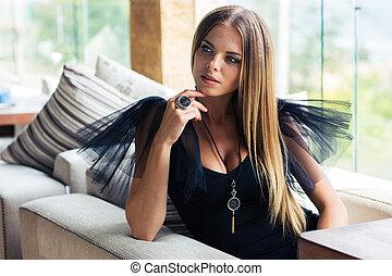 stylish woman sitting at restaurant beautiful stylish woman sitting at restaurant picture csp29816777