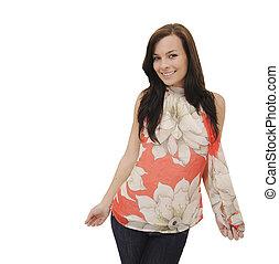 stylish woman smiling isolated on white