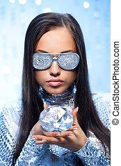 Stylish woman with a diamond