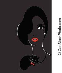 stylish woman with black cat