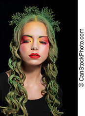 Stylish Woman with Dyed Hairs and Extravagant Makeup